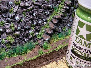 マイクロエース(旧アリイ)トヨペット・クラウン(1/32)ジオラマ製作記 石垣の塗装